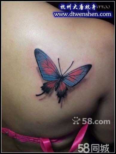 后背蝴蝶纹身