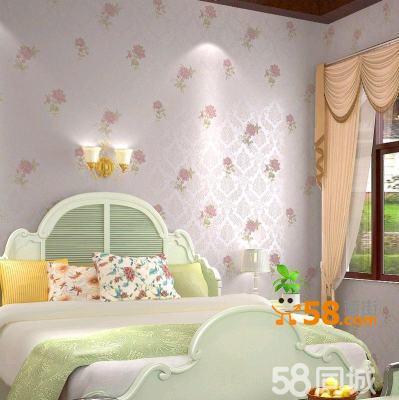 无纺布墙纸植绒撒金壁纸粉色温馨卧室客厅电视墙欧式
