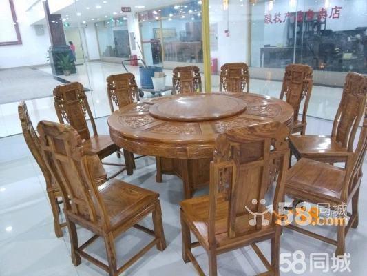 非洲刺猬紫檀木花梨 仿古餐桌如意红木象头圆台11件