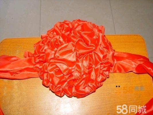 剪彩花红绸花球大红花招牌揭幕新车展示祝寿花红绣球